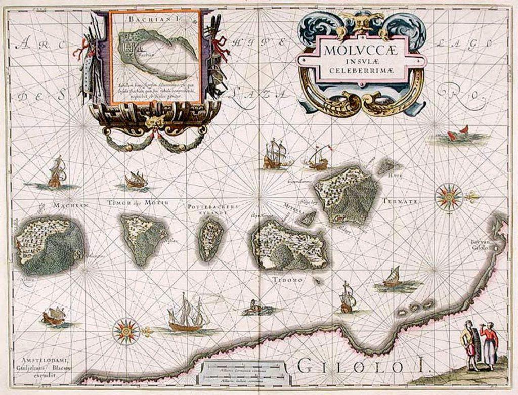 Mapa przedstawiająca Wyspy Korzenne - Moluki